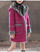 お買い得  女児ジャケット&コート-子供 女の子 ベーシック カラーブロック 長袖 コットン ジャケット&コート ピンク
