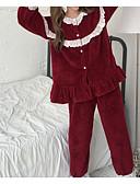 abordables Batas y ropa de dormir-Mujer Escote Redondo Traje Pijamas Jacquard