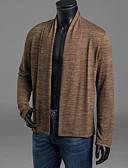זול גברים-ג'קטים ומעילים-מבוגרים חום / אפור כהה / אפור בהיר צווארון חולצה סתיו / חורף פוליאסטר, קרדיגן רגיל שרוול ארוך אחיד יומי בגדי ריקוד גברים