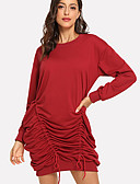 cheap Women's Skirts-Women's Daily Elegant Shift Dress - Solid Colored Red M L XL