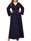 cheap Plus Size Dresses-Women's Street chic / Sophisticated Swing Dress Cut Out / Patchwork