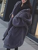 hesapli Kadın Deri ve Suni Deri Kabanlar-Kadın's Günlük Temel Uzun Kaban, Solid Kapşonlu Uzun Kollu Suni Kürk Siyah / Gri S / M / L / Salaş