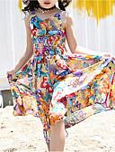 Χαμηλού Κόστους Φορέματα για κορίτσια-Παιδιά / Νήπιο Κοριτσίστικα Γλυκός / Εκλεπτυσμένο Εξόδου / Παραλία Πεταλούδα Φλοράλ Στάμπα Αμάνικο Βαμβάκι / Ρεϊγιόν Φόρεμα Ουράνιο Τόξο