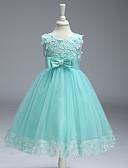hesapli Çiçekçi Kız Elbiseleri-A-Şekilli Taşlı Yaka Diz Boyu Polyester Aplik / Fiyonk ile Çiçekçi Kız Elbisesi tarafından LAN TING Express
