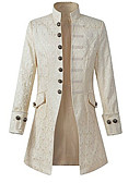cheap Petticoats-Plague Doctor Medieval Steampunk Costume Men's Coat White / Black Vintage Cosplay Long Sleeve Bishop Sleeve