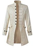 رخيصةأون الأزياء التنكرية التاريخية والقديمة-الطاعون الطبيب العصور الوسطى Steampunk كوستيوم رجالي معطف أبيض / أسود عتيقة تأثيري كم طويل أسقف