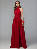 זול שמלות ערב-גזרת A צווארון גבוה עד הריצפה שיפון שמלה לשושבינה  עם שסע קדמי / קפלים על ידי LAN TING BRIDE®