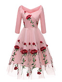 cheap Romantic Lace Dresses-Women's Party Slim Swing Dress Off Shoulder White Black Pink L XL XXL