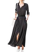 cheap Women's Dresses-Women's Going out Maxi Swing Dress Shirt Collar Blue Black Red M L XL