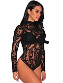 cheap Sexy Bodies-Women's Super Sexy Teddy Nightwear - Lace / Mesh Solid Colored Black S M L / Turtleneck