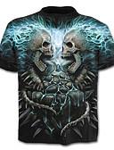 billige T-shirts og undertrøjer til herrer-Rund hals Herre - 3D Bomuld, Trykt mønster Basale Plusstørrelser T-shirt Blå XXL / Kortærmet