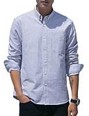 お買い得  メンズシャツ-男性用 プラスサイズ シャツ ストライプ コットン グリーン XXL / 長袖