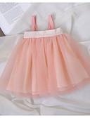 billige Sett med babyklær-Baby Jente Aktiv Ensfarget Lag-på-lag Ermeløs Polyester Kjole Rosa