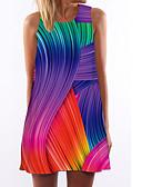 baratos Vestidos de Mulher-Mulheres Básico Bainha Vestido Arco-Íris Acima do Joelho