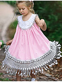 cheap Girls' Sweet Dresses-Kids Girls' Sweet Daily Solid Colored Tassel Sleeveless Midi Polyester Dress Blushing Pink