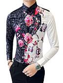 זול חולצות לגברים-פרחוני וינטאג' מידות גדולות כותנה, חולצה - בגדי ריקוד גברים / שרוול ארוך