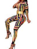 billige Jumpsuits og rompers til damer-Dame Daglig / I-byen-tøj Gade Dyb V Regnbue Kroge til store fisk Tynd Flyverdragtter, Stribet Trykt mønster L XL XXL Langærmet Forår / Sexy