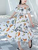 cheap Girls' Dresses-Kids Girls' Sweet / Boho Daily / Beach Cartoon Ruffle / Print Sleeveless Cotton Dress White