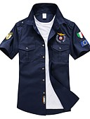 رخيصةأون قمصان رجالي-رجالي قطن قميص قياس كبير رقبة طوقية مرتفعة - أساسي مطرز أحرف أزرق البحرية XXL / كم قصير