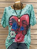 billige T-shirt-Dame - Grafisk Pailletter / Blomster Gade Plusstørrelser T-shirt Grøn / Forår / Sommer / Efterår