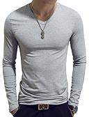 hesapli Erkek Tişörtleri ve Atletleri-Erkek Pamuklu V Yaka İnce - Tişört Solid Temel Açık Mavi / Uzun Kollu / Bahar / Sonbahar