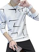 abordables Camisetas y Tops de Hombre-Hombre Camiseta, Escote Redondo Geométrico Blanco XL / Manga Larga