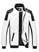 cheap Men's Jackets & Coats-Men's Daily Basic Fall / Winter Plus Size Regular Jacket, Color Block Black & White Stand Long Sleeve PU Patchwork White / Black XXXL / 4XL / XXXXXL