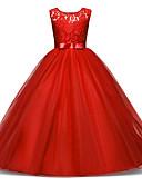 Χαμηλού Κόστους Φορέματα για κορίτσια-Παιδιά Κοριτσίστικα Γλυκός / Εκλεπτυσμένο Αργίες / Εξόδου Patchwork Δαντέλα / Φιόγκος / Patchwork Αμάνικο Ρεϊγιόν / Πολυεστέρας Φόρεμα Βαθυγάλαζο
