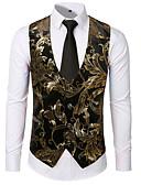 お買い得  メンズブレザー&スーツ-男性用 日常 ストリートファッション レギュラー ベスト, プリント Vネック ノースリーブ ポリエステル ゴールド / シルバー L / XL / XXL
