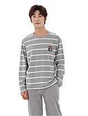 baratos Roupas Íntimas e Meias Masculinas-Homens Decote Redondo Conjunto Pijamas Sólido