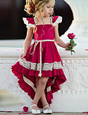 cheap Girls' Sweet Dresses-Kids Girls' Street chic Party Solid Colored Lace Sleeveless Asymmetrical Polyester Dress Red