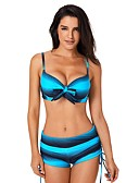 baratos Bikinis-Mulheres Básico Sem Alças Azul Vermelho Enrole Perna do Menino Tanquini Roupa de Banho - Estampa Colorida Estampado L XL XXL Azul / Sexy