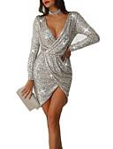 ieftine Rochii NYE-Pentru femei Elegant Zvelt Pantaloni - Mată Paiete / Wrap Argintiu / Petrecere / V Adânc / Asimetric / Sexy