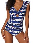 ieftine One-piece swimsuits-Pentru femei De Bază Pătrunderea cremelor Albastru piscină Cheeky O Piesă Costume de Baie - Geometric XXXL XXXXL XXXXXL Albastru piscină / Sexy