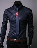 お買い得  メンズTシャツ&タンクトップ-男性用 EU / USサイズ シャツ ベーシック / ストリートファッション レギュラーカラー ソリッド / グラフィック ホワイト XL / 長袖 / 秋