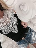 זול חולצה-אחיד רזה חולצה - בגדי ריקוד נשים תחרה / סגנון וינטג' / חלול / אביב / קיץ / סתיו / חורף