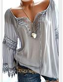 cheap Women-Women's Plus Size Blouse - Geometric / Color Block Lace / Fashion / Hollow V Neck Red XXXL / Spring / Summer / Fall / Winter