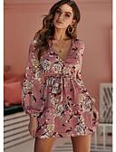 baratos Vestidos de Mulher-Mulheres Básico Evasê Vestido - Patchwork, Listrado Acima do Joelho