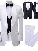 お買い得  スーツ-パターン柄 テイラーフィット ポリエステル スーツ - ショールカラー シングルブレスト 一つボタン