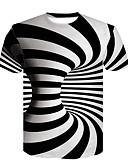 お買い得  メンズTシャツ&タンクトップ-男性用 クラブ - プリント Tシャツ ベーシック / ストリートファッション ラウンドネック カラーブロック / 3D ブラック&ホワイト ホワイト XXL / 半袖 / 夏