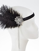 cheap Historical & Vintage Costumes-The Great Gatsby Charleston Vintage 1920s Roaring Twenties Costume Women's Flapper Headband Head Jewelry Black Vintage Cosplay Party Prom / Feather