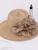 hesapli Kadın Şapkaları-Kadın's Kentucky Derby Vintage Hasır Hasır Şapka Solid Şarap Haki Açık Mavi