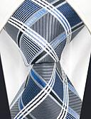 זול עניבות ועניבות פרפר לגברים-עניבת צווארון - משובץ דמקה / סרוג כחול ולבן מסיבה / עבודה / בסיסי בגדי ריקוד גברים