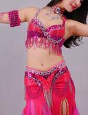 hesapli Göbek Dansı Giysileri-Göbek Dansı Kıyafetler Kadın's Eğitim / Performans Polyester Kristaller / Yapay Elmaslar Kolsuz Düşük Sütyen / Bel Aksesuarları