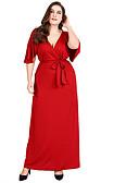 tanie Sukienki w rozmiarach plus-Damskie Zmiana Sukienka - Solidne kolory, Wiązanie Maxi