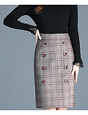 cheap Women's Coats & Trench Coats-women's midi bodycon skirts - plaid / color block / solid colored