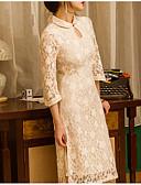 お買い得  女児 ドレス-女性用 ベーシック コットン Aライン ドレス ミディ クルーネック