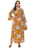 رخيصةأون فساتين قياس كبير-فستان نسائي ثوب ضيق أنيق طباعة طويل للأرض ورد V رقبة