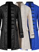 cheap Historical & Vintage Costumes-Retro / Vintage Medieval Costume Men's Coat White / Black / Blue Vintage Cosplay Party Prom Long Sleeve Stand