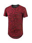 levne Pánské košile-Pánské - Jednobarevné Základní Tričko Bavlna Kulatý Trávová zelená L / Krátký rukáv